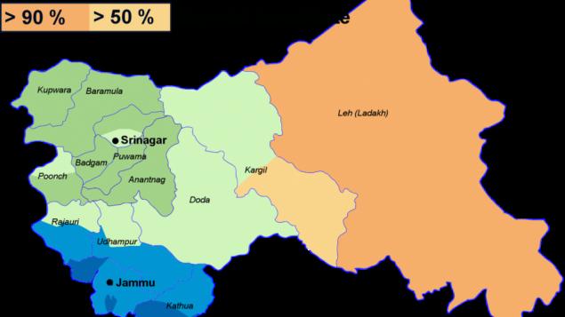 Religions au Cachemire indien. (Crédit : Christophe cagé — Travail personnel/CC BY-SA 3.0/WikiCommons)