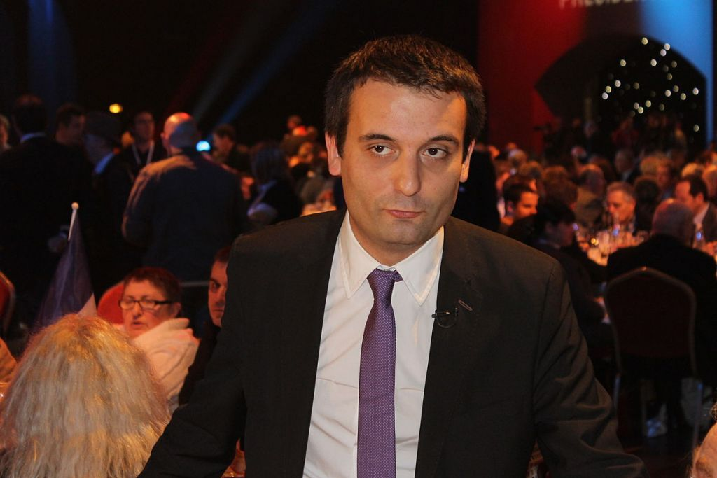 Florian Philippot lors de la présentation du programme présidentiel du FN, à Paris, le 19 novembre 2011. (Crédit : Gauthier Bouchet/CC BY-SA 3.0/WikiCommons)