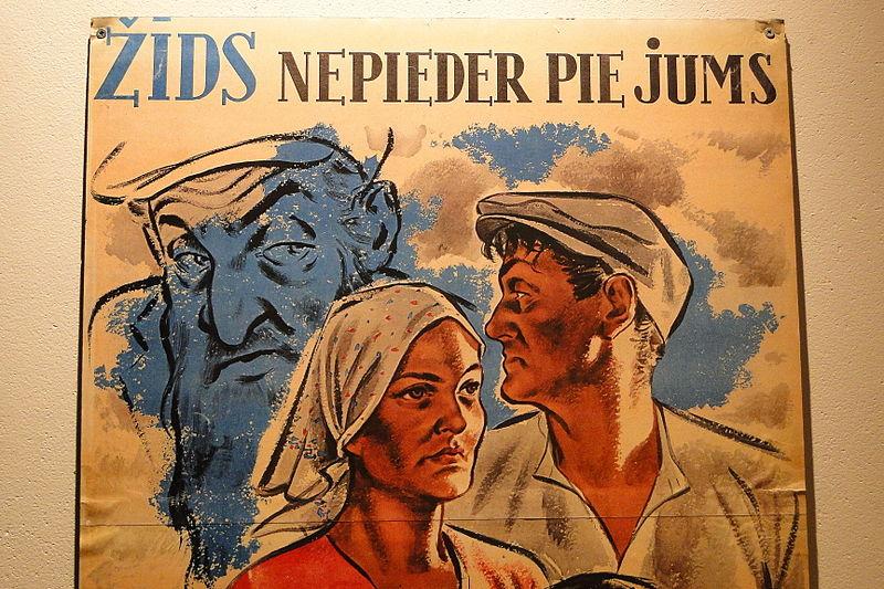 Une affiche nazie antisémite en Lettonie, fabriquée pour l'occupation allemande du pays. (Crédit : domaine public)