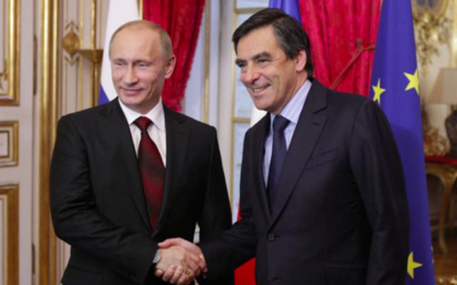 François Fillon et Vladimir Poutine, à l'Élysée en juin 2010 (Crédit : gouvernement russe)