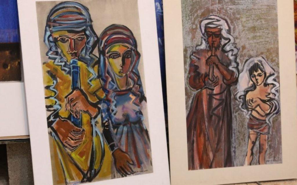Yitzhak Greenfield, né à New York, vit à Ein Kerem depuis 50 ans, peint à l'huile, à l'acrylique, et à la gouache. (Crédit : Shmuel Bar-Am)