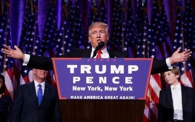 Le président élu Donald Trump pendant son discours de victoire à New York, le 9 novembre 2016. (Crédit : Chip Somodevilla/Getty Images via JTA)