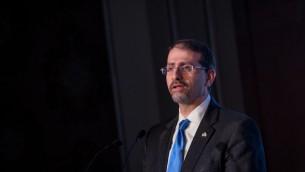 Dan Shapiro, ambassadeur des Etats-Unis en Israël, pendant la conférence diplomatique du Jerusalem Post, à Jérusalem, le 23 novembre 2016. (Crédit : Miriam Alster/Flash90)
