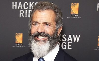 """Mel Gibson avant la première australienne de """"Hacksaw Ridge"""", à Sidney, le 16 octobre 2016. (Crédit : Brendon Thorne/Getty Images via JTA)"""