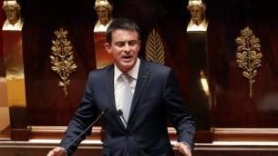 Le Premier ministre français Manuel Valls au cours d'un débat portant sur la prolongation, pour la quatrième fois, de l'état d'urgence à l'Assemblée Nationale de Paris, le 19 juillet 2016. (Crédit : (AFP Photo/Francois Guillot)
