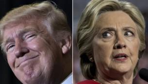 A gauche, le président américain élu Donald Trump à Tampa, en Floride, le 5 novembre  2016, et la candidate démocrate à la présidence Hillary Clinton à Allendale, dans le Michigan, le 7 novembre 2016. (Crédit : AFP)