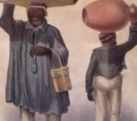 Une peinture représentant des transporteurs d'eau par le premier artiste de Jamaïque qui était Juif, Isaac Mendes Belisario. Ses oeuvres sont exposées à la  National Gallery. (Julie Masis/Times of Israel)
