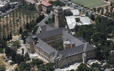 Le complexe de l'hôpital Augusta Victoria sur le Mont des Oliviers à Jérusalem  (Crédit : CC BY-SA Ilan Arad, Wikimedia)