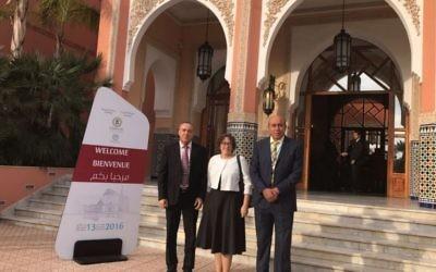 Les parlementaires issus de l'Union sioniste Zouheir Bahloul (à droite),  Yael Cohen Paran, et Akram Hasson (Koulanou) à  Marrakech, au Maroc, en novembre 2016. (Crédit )