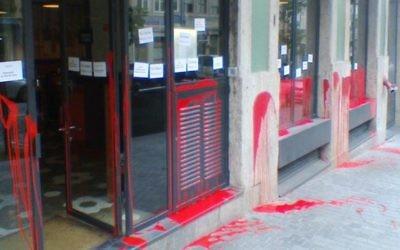 Le restaurant Cantinho do Avillez de Porto, au Portugal, après les actes de vandalisme subis le 19 novembre 2016 et attribués aux activistes de BDS. (Crédit :  WJC/via JTA)