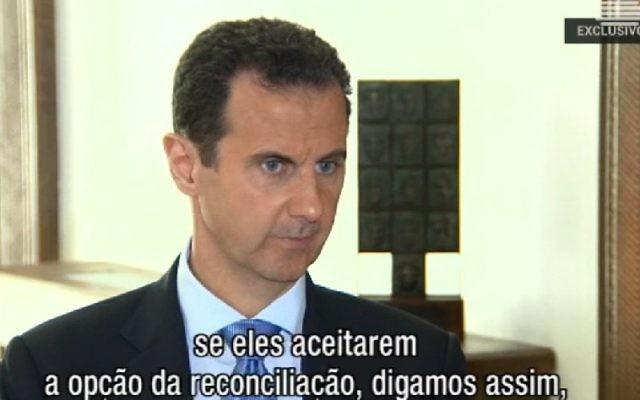 Le président syrien Bashar el-Assad sur la chaîne portugaise RTP, le 15 novembre 2016. (Crédit : capture d'écran RTP)