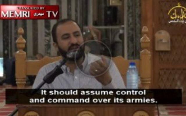 Capture d'écran de la vidéo mettant en scène Sheikh Abd Al-Salam Abu Al-Izz, diffusée le16 novembre 2016. (Crédit : capture d'écran/Institut de recherche des médias du Moyen-Orient)