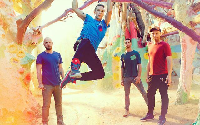 Chris Martin (deuxième à partir de la gauche) et le reste des membres de Coldplay, étaient en Inde pour le Global Citizen Festival (Crédit : Global Citizen)