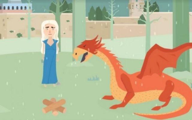 Dani et son dragon parlent des options de chauffage pour les habitants de Jérusalem dans cet hommage à Game of Thrones. (Crédit : Capture d'écran Facebook)