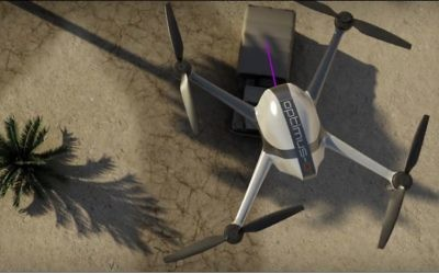 Le SpectroDrone de LDS : un système de détection laser opérant depuis un drone. (Crédit : capture d'écran Vimeo)