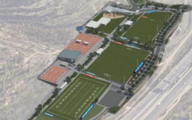 La représentation d'un artiste du Kraft Family Sports Campus qui sera construit dans la vallée d'Arazim, à Jérusalem. (Crédit : mairie de Jérusalem)