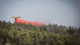 Des pompiers tentent d'éteindre le feu de forêt près de Neve Shalom et de Latrun, en périphérie de Jérusalem, le 22 novembre 2016. (Crédits : Hadas Parush/Flash90)