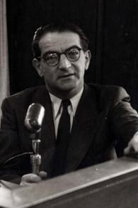 Rudolph Kasztner lors de son procès en Israël. (Crédit : autorisation)