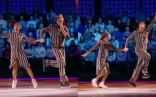 Anciens danseurs olympiques, Tatiana Navka et Andrei Burkovsky se sont produits dans un spectacle de patinage artistique à la télévision sur le thème de l'Holocauste, le 26 novembre 2016. (Crédit : capture d'écran YouTube)