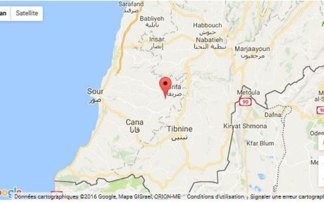 Localisation de l'épicentre d'un séisme de magnitude 3,6 ayant eu lieu dans le sud du Liban le dimanche 20 novembre 2017.