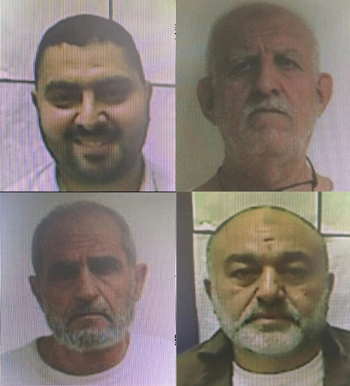 Dans le sens des aiguilles d'une montre, depuis le coin supérieur gauche : Hikmat Naamneh, Ismail Lahwani, Yahya Sutra et Abdel Karim, qui ont été inculpés le 27 novembre 2016 pour avoir fomenter les troubles du mont du Temple. (Crédit : Shin Bet)