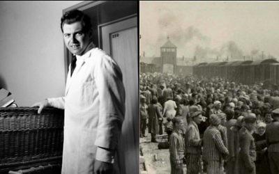 """Le célèbre médecin nazi Josef Mengele, encore jeune docteur, et la """"rampe"""" du camp de concentration d'Auschwitz-Birkenau en mai 1944, quand Mengele choisissait parfois des prisonniers pour la vie, la mort, ou l'expérimentation. (Crédit : domaine public)"""