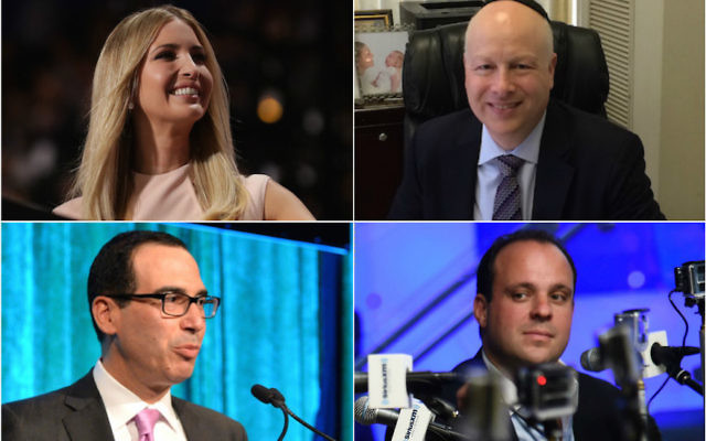 Dans le sens des aiguilles d'une montre : Ivanka Trump, Jason Greenblatt, Boris Epshteyn et Steven Mnuchin (Crédit : Chip Somodevilla/Getty Images - Uriel Heilman - Ilya S. Savenok/Getty Images for SiriusXM - Andrew H. Walker/Getty Images for City Harvest via JTA)