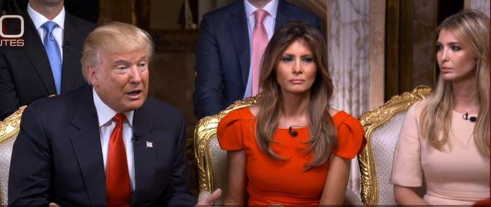 Le président américain élu Donald Trump, accompagné de son épouse Melania (au centre) et de sa fille Ivanka (à droite) pendant une interview réalisée par Barbara Walters, le 14 novembre 2016. (Crédit : capture d'écran)