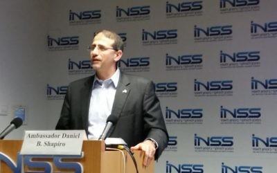 Dan Shapiro à l'INSS, le 9 novembre 2016. (Crédit : Raphael Ahren)