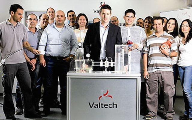 L'équipe de Valtech Cardio, avec le PDG Amir Gross au micro (Crédit : Autorisation)