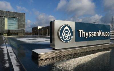 Photo prise le 1 décembre 2012, au siège du géant allemand de l'industrie ThyssenKrupp AG à Essen, en Allemagne. (Crédit : AFP PHOTO/PATRIK STOLLARZ)