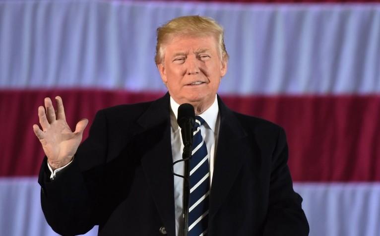 Le président américain élu Donald Trump à Bâton rouge, en Louisiane, le 9 décembre 2016. (Crédit : Don Emmert/AFP)