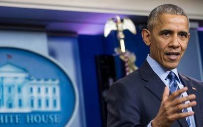 Le président américain Barack Obama pendant sa conférence de presse annuelle à la Maison Blanche, le 16 décembre 2016. (Crédit : Zach Gibson/AFP)