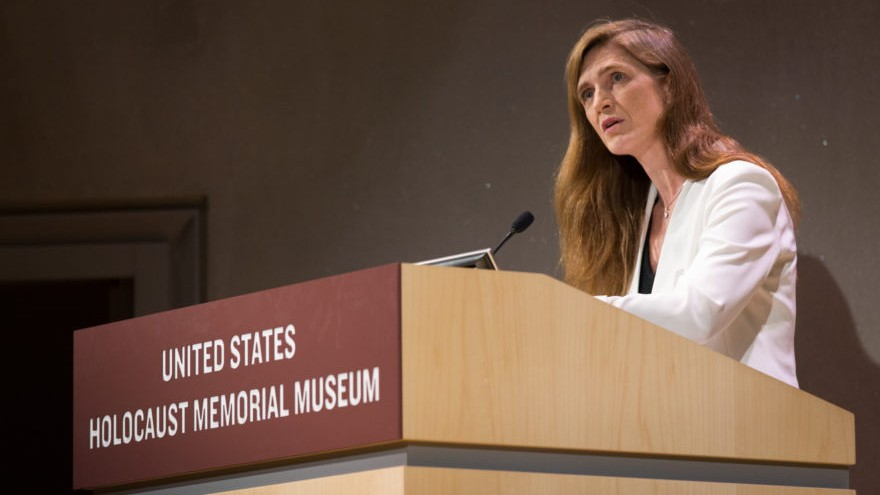 Samantha Power au mémorial Elie Wiesel au musée commémoratif de l'Holocauste des États-Unis le 30 novembre 2016. (Crédit : Autorisation du Musée commémoratif de l'Holocauste des États-Unis via JTA)