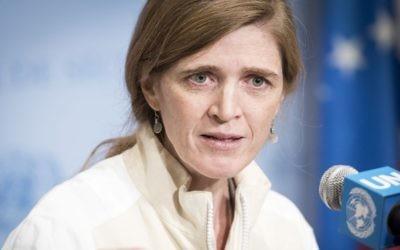 Samantha Power, lors d'une conférence de presse au Conseil de sécurité des Nations unies sur les lancements de missiles iraniens, le 14 mars 2016 (Crédit : UN / Mark Garten)