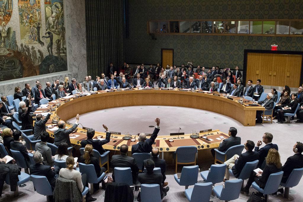 Le Conseil de sécurité vote la résolution 2334, adoptée avec 14 voix pour, zéro contre et une abstention (Etats-Unis). (Crédit : ONU/Manuel Elias)