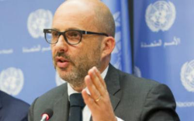 Robert Piper, coordinateur de l'aide humanitaire de l'ONU dans les territoires palestiniens. (Crédit : Rabnif99/CC BY-SA 4.0)