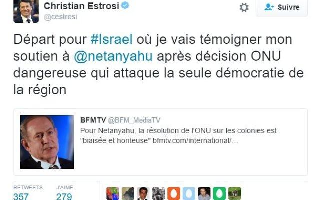 Christian Estrosi annonce son prochain voyage en Israël en réponse à la résolution de l'ONU condamnant les 'colonies' israéliennes (Crédit:  capture d'écran Christian ESTROSI/Twitter).
