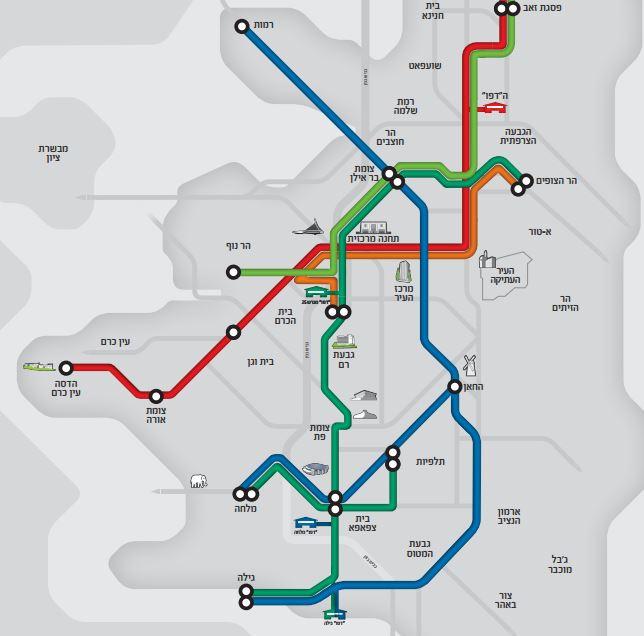 Un plan des quatre lignes (dont trois prévues) du tramway de Jérusalem, publié par la mairie le 1er décembre 2016. (Crédit : mairie de Jérusalem)
