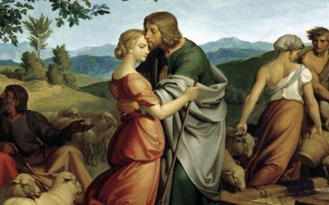 """""""Jacob rencontre Rachel avec les troupeaux de son Père"""" de Joseph von Führich, 1836 (Domaine public via Wikimedia Commons)"""