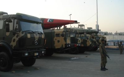 Missiles vus à l'exposition militaire IDEAS 2008 à Karachi, Pakistan. Illustration. (Crédit : SyedNaqvi90/CC/WikiCommons))