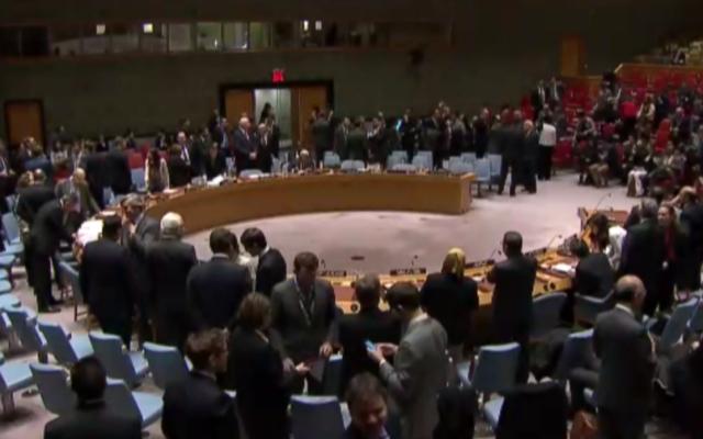 Le Conseil de sécurité des Nations unies, le 23 décembre 2016. (Crédit : capture d'écran ONU)