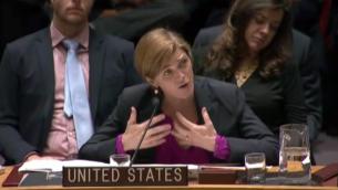 L'ambassadrice des Etats-Unis aux Nations unies, Samantha Power devant le Conseil de sécurité après s'être abstenu sur une résolution anti-implantations, le 23 décembre 2016. (Crédit : capture d'écran Nations unies)