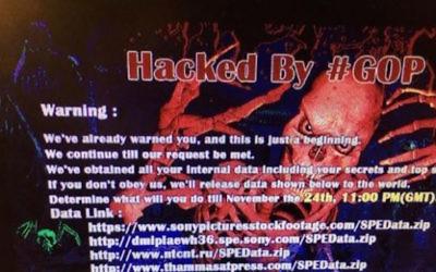 Capture d'écran d'un message envoyé aux employés de Sony Pictures par des pirates informatiques 'Guardians of Peace' (Crédit : Capture d'écran YouTube)