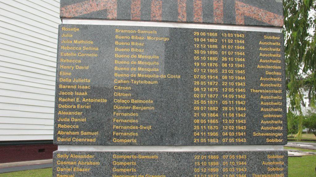 Les noms, dates de naissances et dates de décès des 105 victimes surinâmes de la Shoah, ainsi que le nom du camp où ils ont trouvé la mort. (Crédit : Jacob Steinberg)