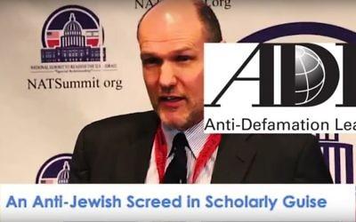 Stephen M. Walt et le logo de l'ADL dans une publicité pro-Trump diffusée par un think-tank nationaliste blanc, le National Policy Institute, le 1er novembre 2016. (Crédit : capture d'écran YouTube)