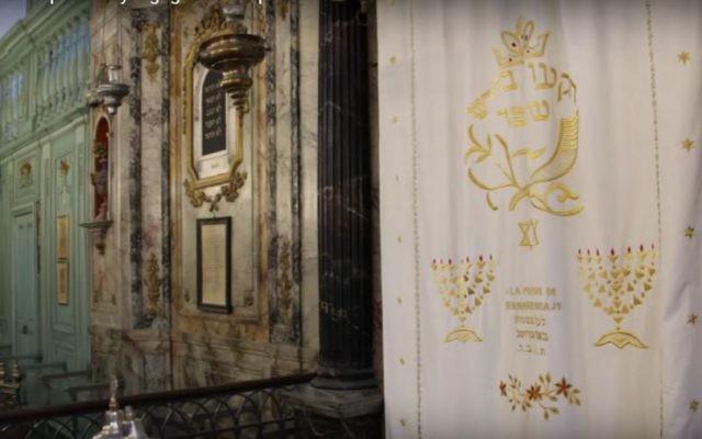 L'intérieur de la synagogue de Carpentras, en 2016. (Crédit : capture d'écran France-Bleu Vaucluse)