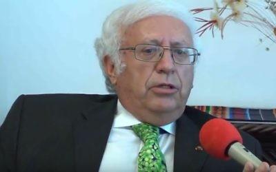Horacio Sevilla Borja, ambassadeur de l'Equateur auprès des Nations unies, en 2012. (Crédit : capture d'écran YouTube/Francisco das Chagas Leite Filho)
