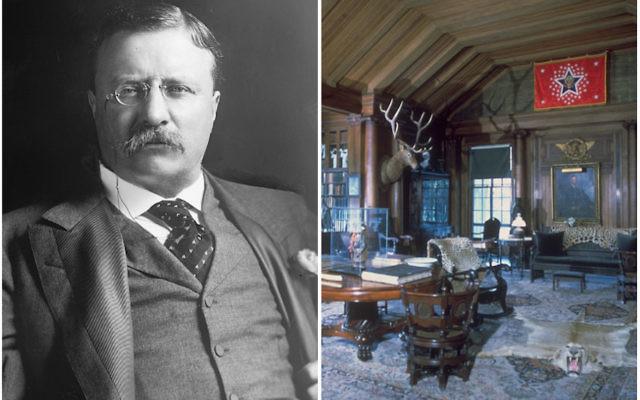 Le 26e président américain, Theodore Roosevelt, à gauche, et sa résidence d'été de Sagamore Hill, sur Long Island, dans l'état de New York. (Crédit : Wikimedia Commons)