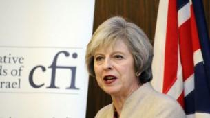 La Première ministre britannique Theresa May lors d'un discours prononcé à l'occasion d'un déjeuner organisé par les Amis conservateurs d'Israël, le 12 décembre 2016. (Crédit : CFI)
